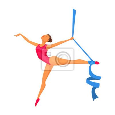 Mlada Gymnastka Zena Se Stuhou Rytmicka Gymnastika Olympijsky