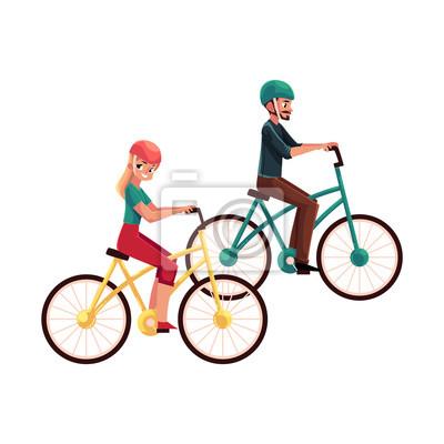 Mlady Par Muz A Zena Jizda Na Kole Cyklistika V Prilebch