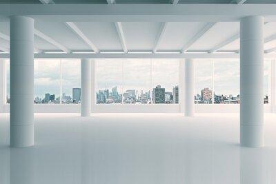 Fototapeta Moderní bílá hangár prostor s výhledem na město