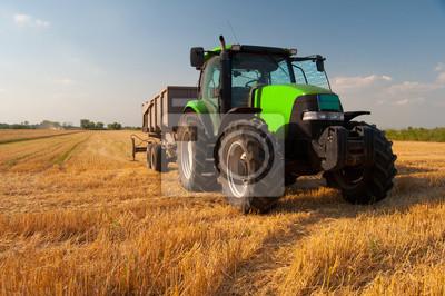 Fototapeta Moderní Green Traktor na zemědělské poli při sklizni na slunné letní den