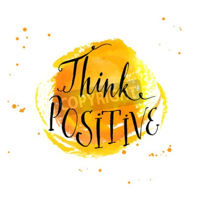 Fototapeta Moderní kaligrafie inspirativní citát - myslet pozitivně - na žlutém pozadí akvarel