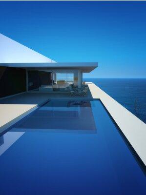 Fototapeta Moderní luxusní Loft / apartmán s výhledem na oceán + nekonečný bazén
