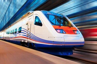 Fototapeta Moderní vysokorychlostní vlak s motion blur