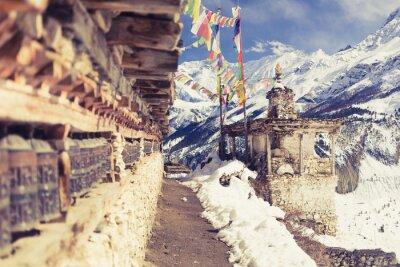 Fototapeta Modlitební mlýnky ve vysokém Himaláje, obec Nepál, cestovního ruchu cíl