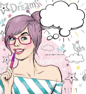 Fototapeta Módní dívka s perem v ruce s bublinu