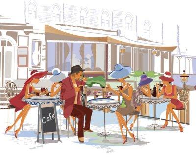 Fototapeta Módní lidé v ulici kavárně ve městě.