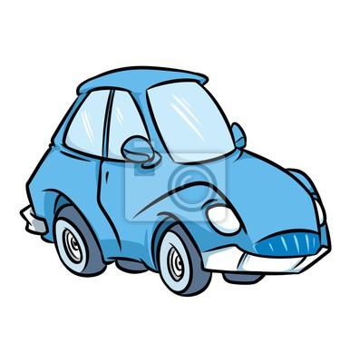 Modra Cartoon Auto Samostatny Obrazek Kresleny Doprava Fototapeta