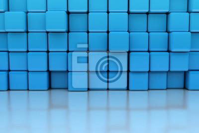 Fototapeta Modrá kostka stěna 3d ilustrace