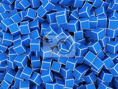 Fototapeta Modré 3d kostky digitální textury pozadí