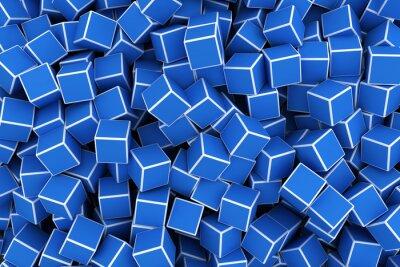 Modré 3d kostky pozadí