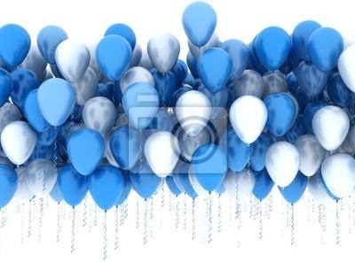 Modré a bílé balónky stran izolované
