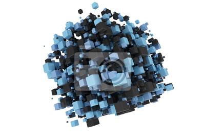 Fototapeta Modré a černé 3d kostky abstraktní digitální pozadí