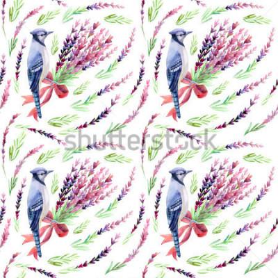 Fototapeta Modré jay s levandulem bezproblémové vzorek na bílém pozadí. Ručně malované ilustrace akvarelu.