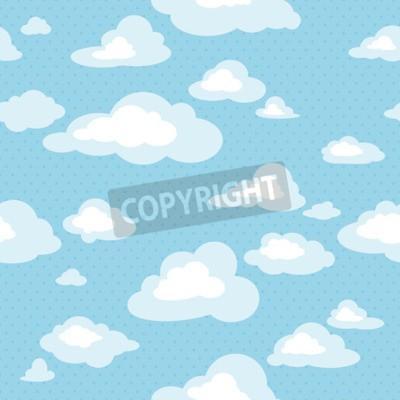 Fototapeta Modré nebe s mraky, vektorové bezproblémové vzorek