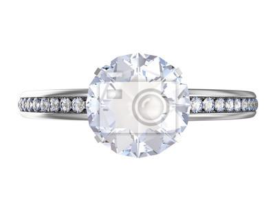 Modre Snubni Prsten S Modrymi Diamanty Na Bilem Pozadi Fototapeta