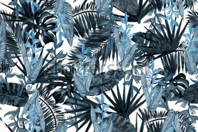 Fototapeta Modré tmavé květinový vzor listy pozadí. Palmový list a banánové listy tropické květiny strelizia. Akvarel, tropické listy ilustrace bezešvé vzor.