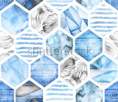 Fototapeta modrý geometrický bezešvé vzor na bílém pozadí. Abstrakt Akvarelový šestiúhelník s listy monstera, pruhy. grunge textury. Ručně malovaná letní ilustrace. Mořský styl