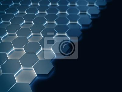 Modrý Hexagon 3d vzorek zářící ve tmě s copyspace