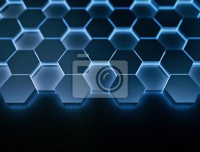 Modrý šestiúhelníkový vzor 3D zářící ve tmě
