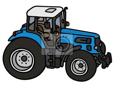 Modry Traktor Rucni Kresleni Ne Skutecny Typ Fototapeta