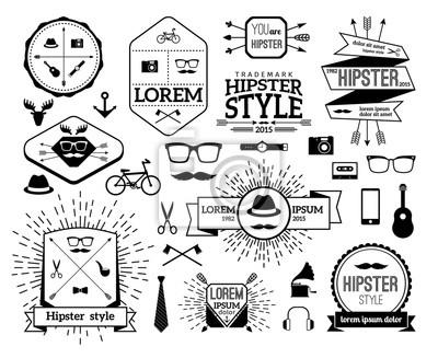 Monochrome hipster modern line logo set fototapeta • fototapety ... dc8bbf7bbd