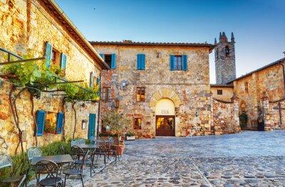 Fototapeta Monteriggioni starobylé historické náměstí, Itálie.