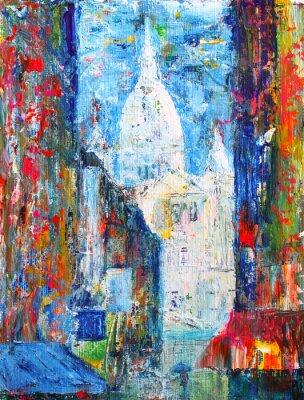 Fototapeta Montmartre ulice v Paříži, Francie, maloval akryl