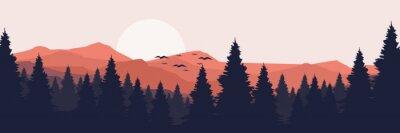 Fototapeta moonrise in mountain landscape vector illustration design for wallpaper design, design template, background template, and tourism design template