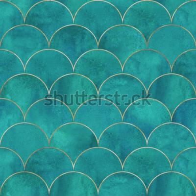 Fototapeta Mořská panna ryby měřítko vlna japonské luxusní bezešvé vzor. Akvarel ručně tažené tmavě šedozelená tyrkysové pozadí se zlatou linkou. Textura ve tvaru akvarelu. Potisk na textil, tapety, obaly