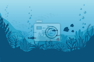 Fototapeta Mořské podvodní pozadí. Oceánské dno s mořskými řasami. Vektorové mořské scény
