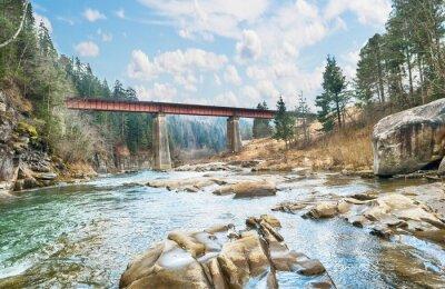 Fototapeta Most na horské řeky