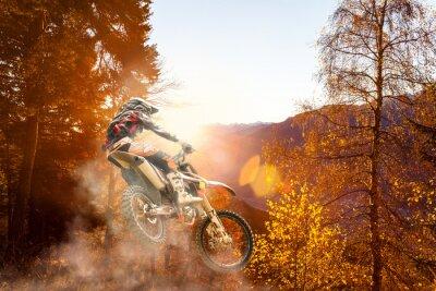 Fototapeta motocross at sunset
