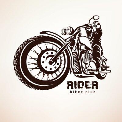 Fototapeta motorkář, motocyklu grunge vektor silueta