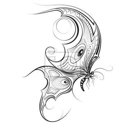 Motyl Rucne Kreslenymi Vektorove Ilustrace Zentangle Motyla