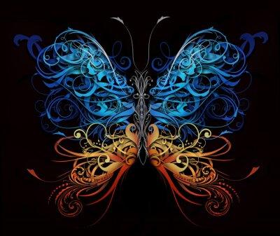 Fototapeta motýl z vzkvétat abstraktních tvarů