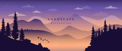 Fototapeta Mountain background vector. Landscape with mountains and sun, Mountainous terrain, Sun set wallpaper design for wall arts, cover, fabric. Vector illustration.