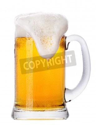 Fototapeta Mrazivý sklo světla sady piva na bílém pozadí