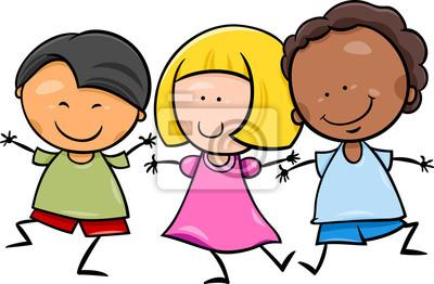 Multikulturni Deti Kreslene Ilustrace Fototapeta Fototapety
