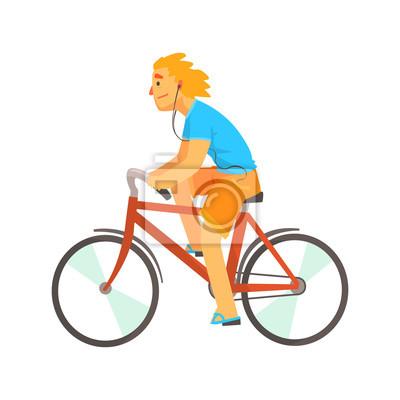Fototapeta Muž na sobě ležérní oblečení a sluchátka se těší cyklistiku c1f3aa9882