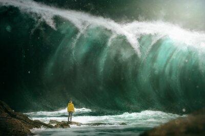 Fototapeta Muž před tsunami