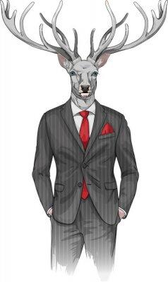 Fototapeta muž s hlavou jelena oblečený v obleku