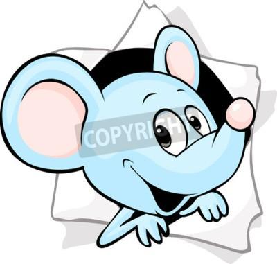 Fototapeta Myši vyhlížející z díry v papíře