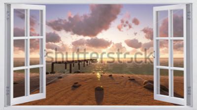 Fototapeta Na pláži, pohled z okna.
