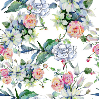 Fototapeta Nabídka kytice květin. Bez toho, aby byl vzorek pozadí. Textura tapety textilie tisknout. Aquarelle wildflower pro pozadí, texturu, vzorek obalu, rám nebo okraj.