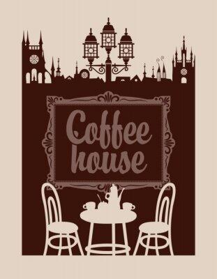 Fototapeta Nabídka pro kavárně s rám obrazu a staré město