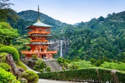 Fototapeta Nachi, Japonsko u pagody z Seigantoji a Nachi č Taki vodopádu.