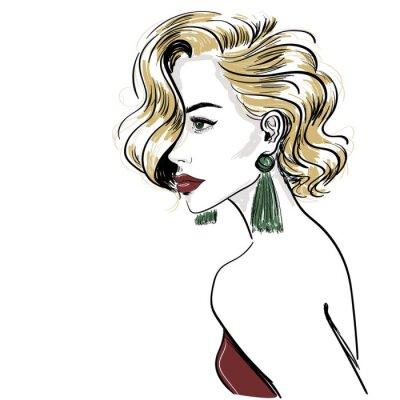 Fototapeta náčrt klasické blond ženy s vlasy vlny