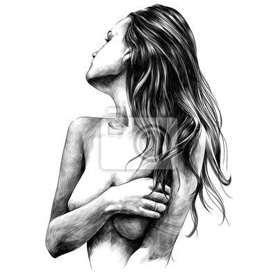 Fototapeta nahá dívka představuje náčrtek vektorové grafiky monochromatické černé a bílé kreslení