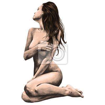 Fototapeta nahá žena pózuje pro skica vektorové barevné kresby