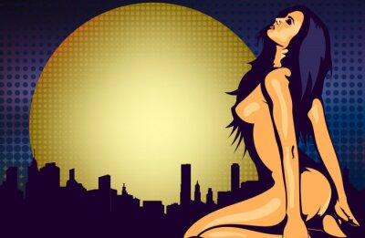 Fototapeta Nahá žena u okna s výhledem na noční město, design vektorové šablony